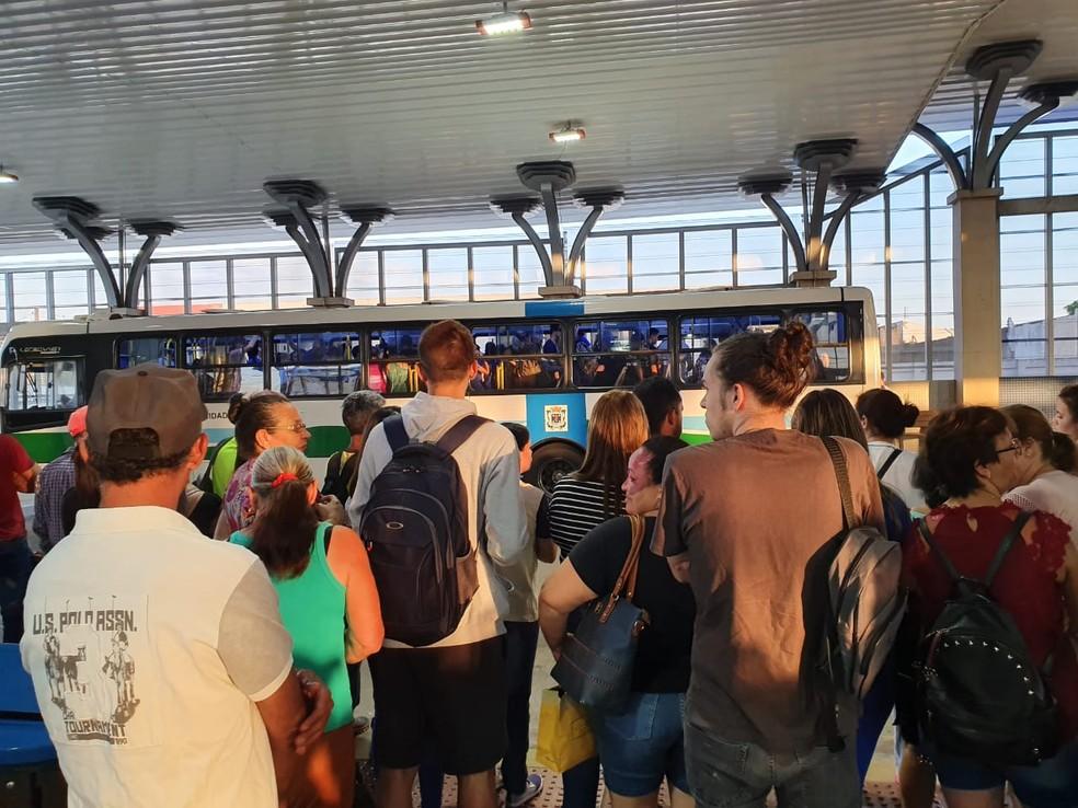 Passageiros esperam pelos ônibus nos terminais de Cascavel — Foto: Cícero Bittencourt/RPC Cascavel