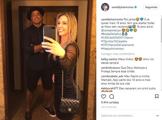 Carla Perez e Xanddy celebram os 16 anos de casados (Foto: Reprodução/Instagram)