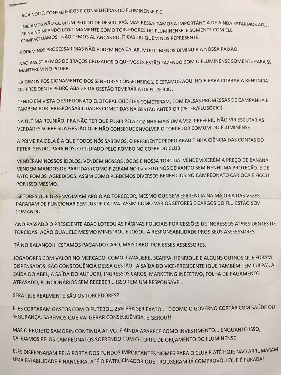 Primeiro página da carta dos representantes para o Conselho Deliberativo (Foto: Divulgação)