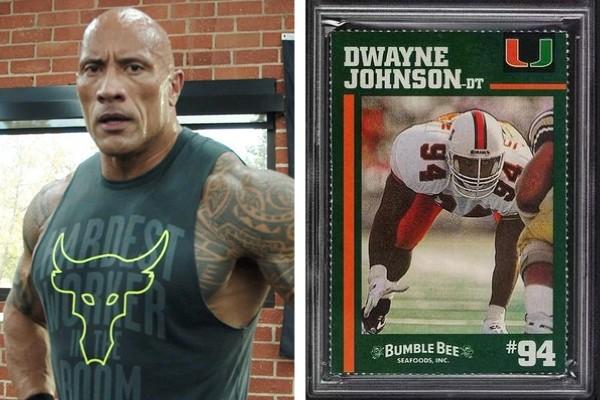 The Rock comemora venda de cartão de futebol americano da época da faculdade por R$ 242 mil (Foto: Reprodução / Instagram)