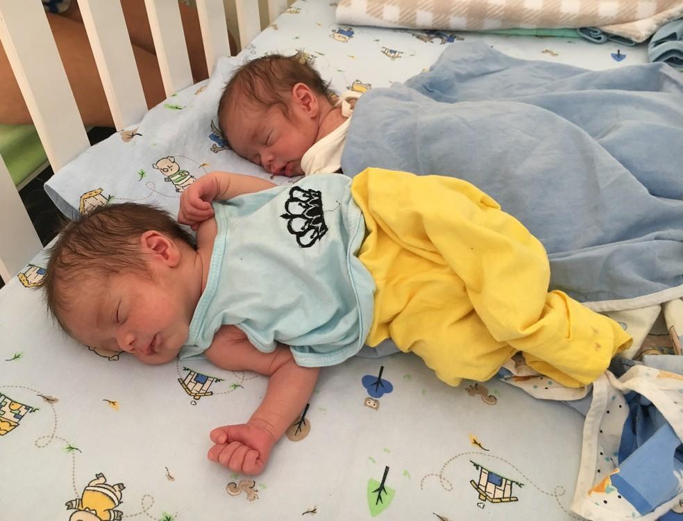 Recém-nascidos, gêmeos Santiago e Sebastian Torres foram registrados como brasileiros (Foto: Emily Costa/G1 RR)