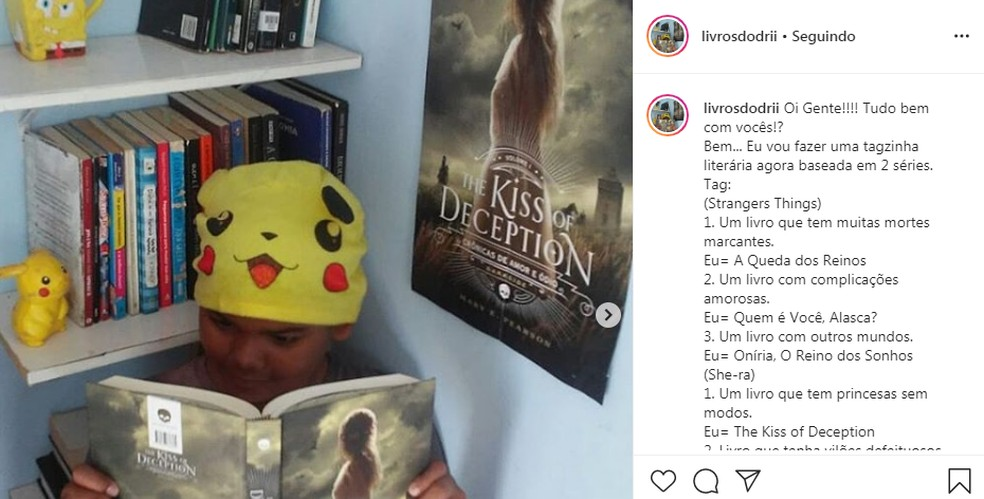 Adriel criou o perfil no ano passado e dá dicas de leitura — Foto: Reprodução / Instagram