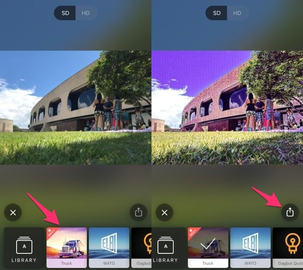 Ação para adicionar um filtro do Prisma e acessar as opções de compartilhamento (Foto: Reprodução/Marvin Costa)