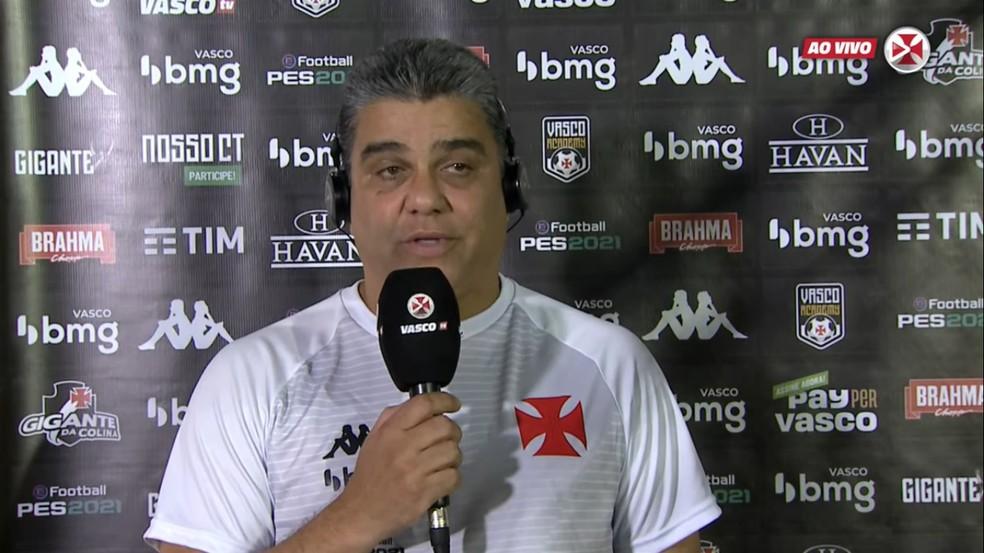 Marcelo Cabo concede coletiva após jogo do Vasco — Foto: Reprodução