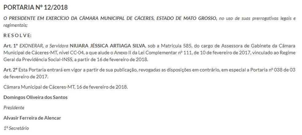 Portaria de exoneração foi publicada no diário oficial (Foto: Câmara de Cáceres/Reprodução)