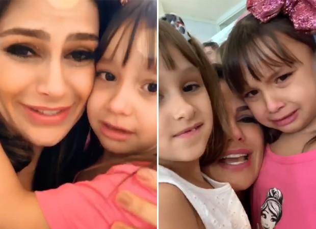 Natália Guimarães e as filhas, Maya e Kiara (Foto: Reprodução)