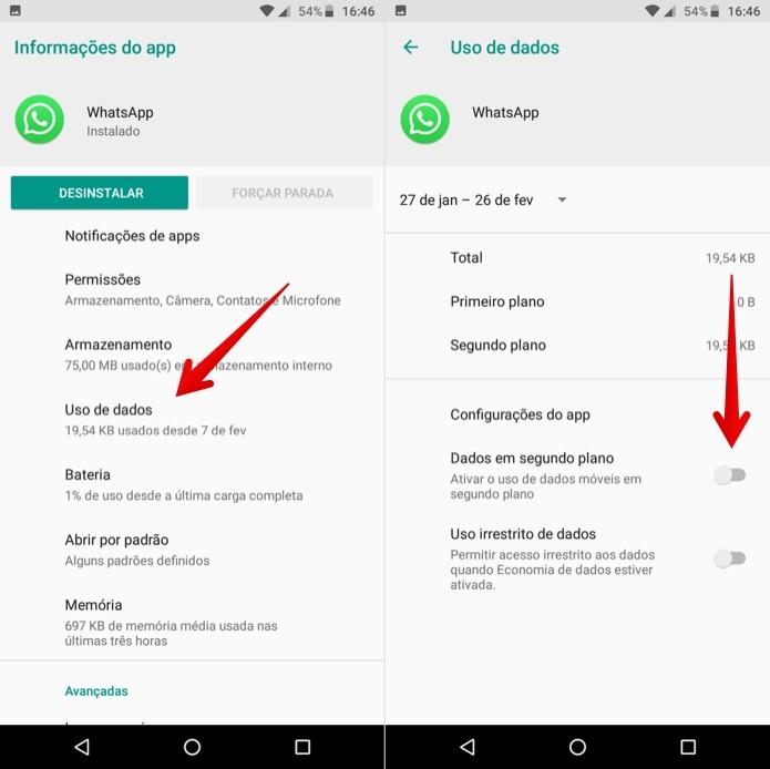 Impeça que o aplicativo do WhatsApp use os dados móveis — Foto: Reprodução/Helito Beggiora