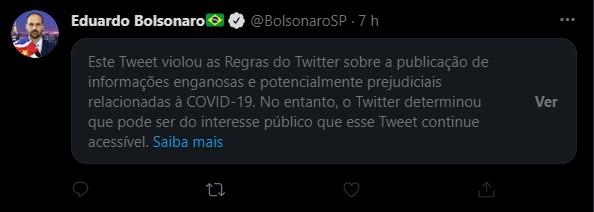 Twitter coloca aviso de publicação enganosa em post de Eduardo Bolsonaro sobre 'lockdown' thumbnail