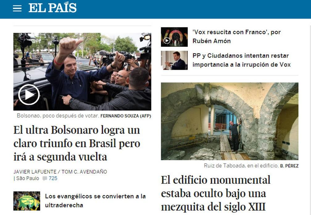 """""""El País"""", da Espanha, noticia vantagem de Jair Bolsonaro no primeiro turno das eleições — Foto: Reprodução/El País"""