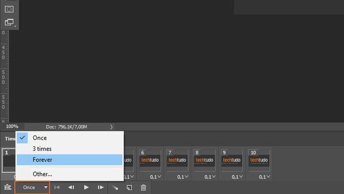 No Photoshop, ajuste a duração que cara imagem terá no GIF animado (Foto: Reprodução/Tais Carvalho)