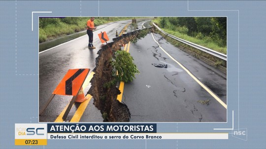 Serra do Corvo Branco em SC é interditada por risco de desmoronamento