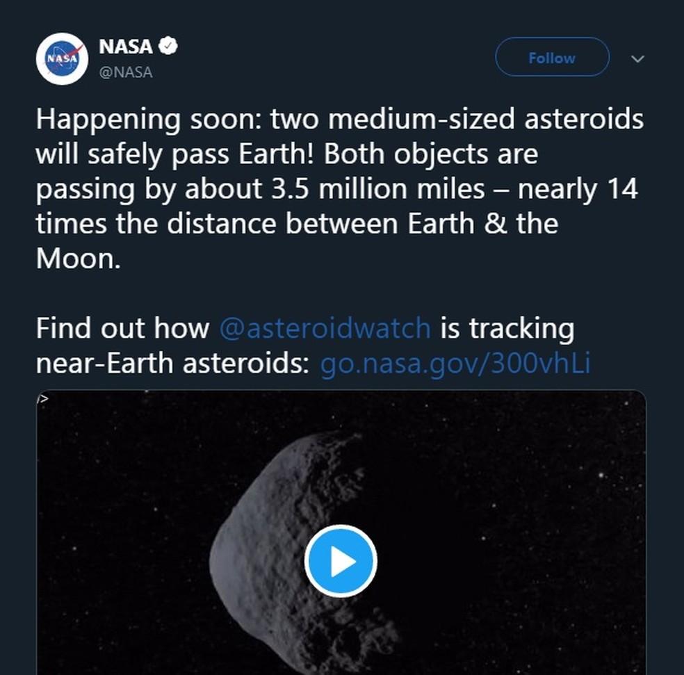 Agência Espacial Americana (NASA) alertou sobre a passagem de asteroides próximos da Terra. — Foto: Reprodução/Redes Sociais