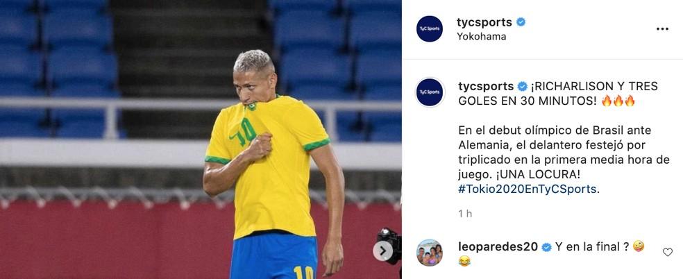 A publicação original da TyC Sports, com a provocação de Paredes a Richarlison — Foto: Reprodução / Instagram