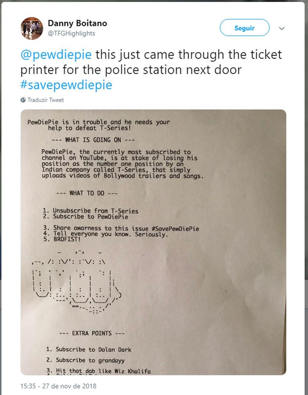 Usuário relata no Twitter que impressora em delegacia de polícia emitiu recado sobre canal de PewDiePie. — Foto: Reprodução