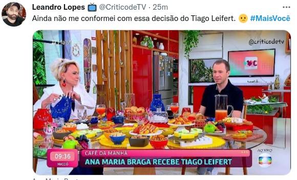 Internautas comentam entrevista de Tiago Leifert no 'Mais você' (Foto: Reprodução)