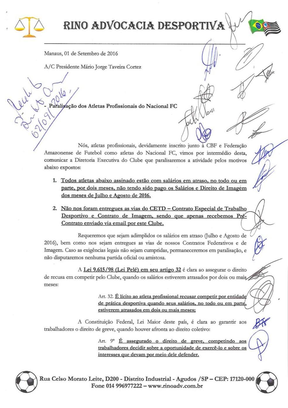 Jogadores do Nacional chegaram a oficializar greve em 2016 (Foto: Reprodução)