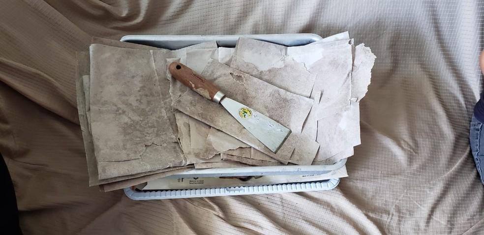 Na residência do investigado foram encontrados instrumentos utilizados na preparação do material  — Foto: Polícia Federal/ Divulgação