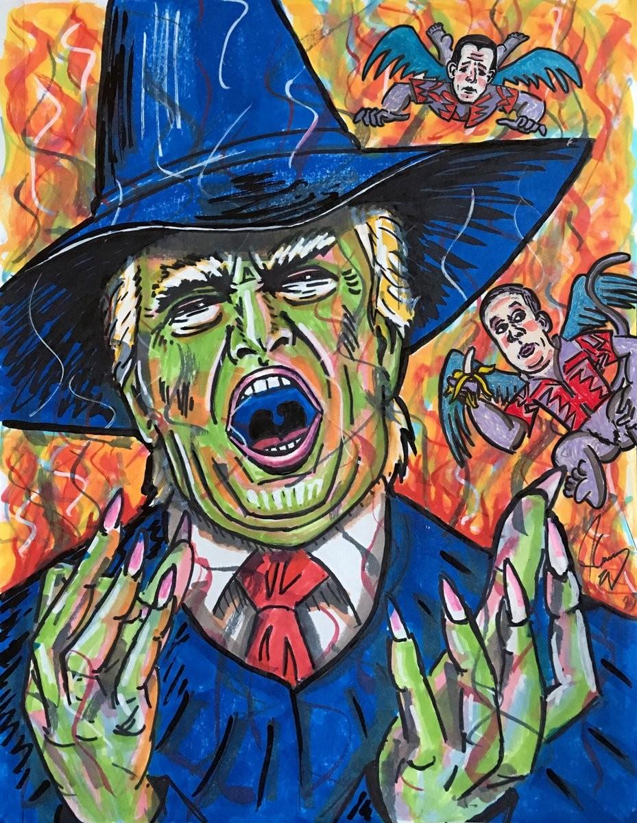 O quadro feito pelo ator Jim Carrey fazendo piada com Donald Trump (Foto: Twitter)
