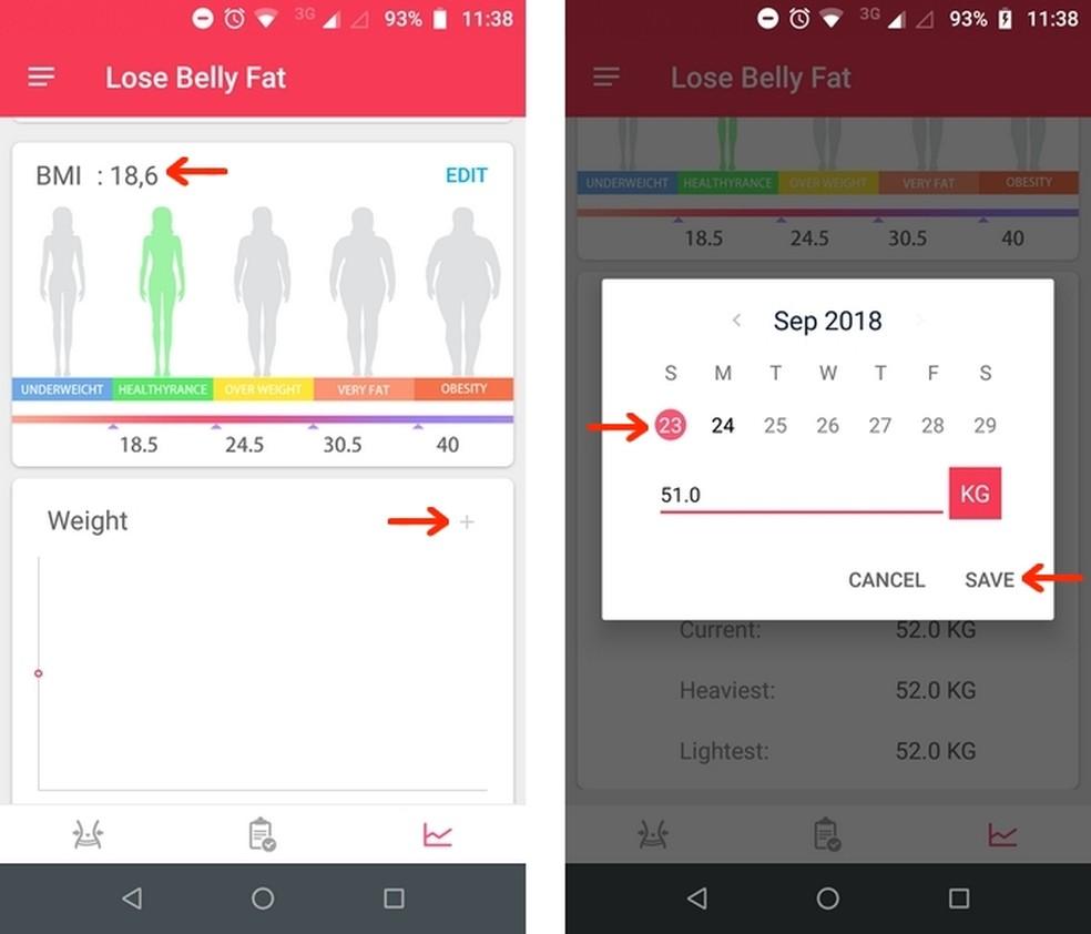 Gráfico de IMC atualizado e alteração no gráfico de peso no aplicativo Lose Belly Fat — Foto: Reprodução/Raquel Freire