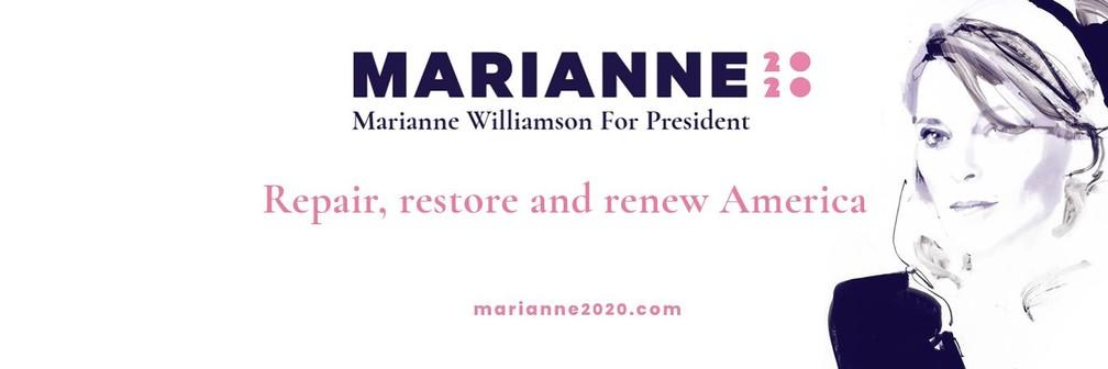A pré-candidata democrata Marianne Williamson. — Foto: Divulgação de campanha/Twitter