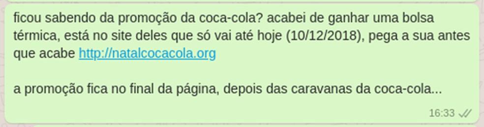 Golpe no WhatsApp usa a marca Coca-Cola para enganar as vítimas — Foto: Reprodução/WhatsApp