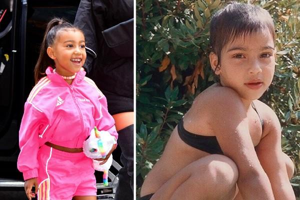A pequena North Kardashian West e a socialite Kim Kardashian em uma foto de infância (Foto: Getty Images/Instagram)
