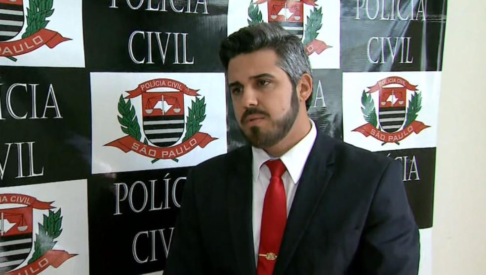 O delegado João Paulo de Oliveira Marques, em Cristais Paulista (SP) — Foto: Reprodução/EPTV