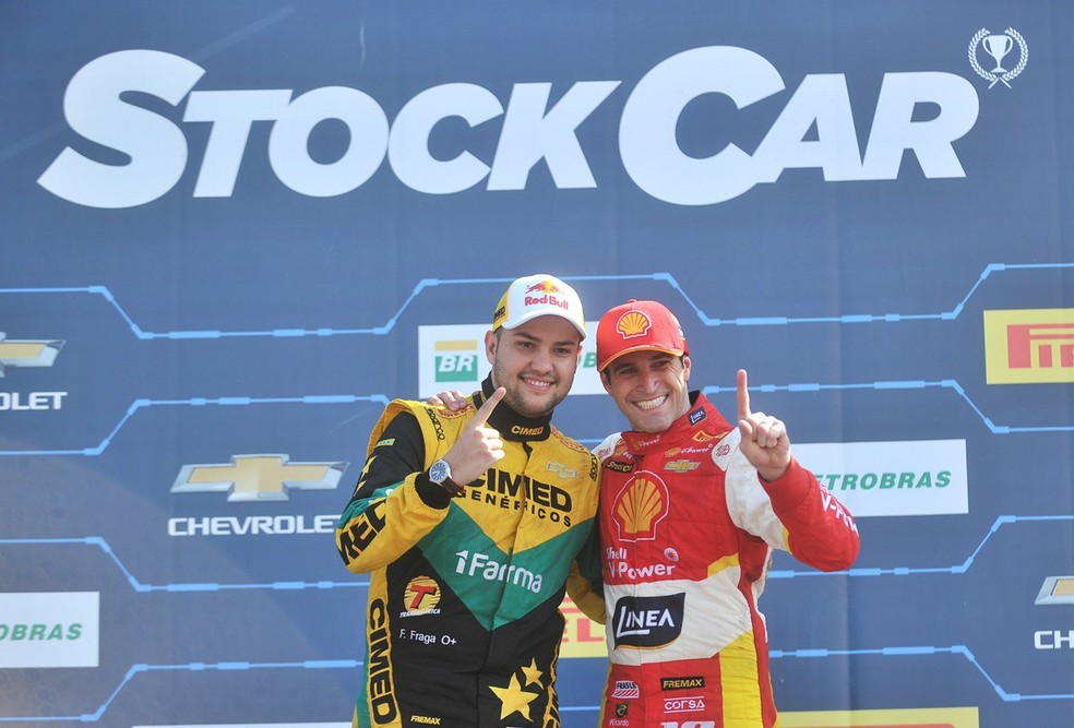 Felipe Fraga e Ricardo Zonta: os vencedores da Stock Car em Campo Grande em 2018 (Foto: Duda Bairros / Stock Car)