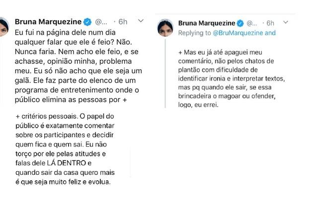 Bruna Marquezine se justifica sobre comentários relacionados a Prior (Foto: Reprodução/Twitter)