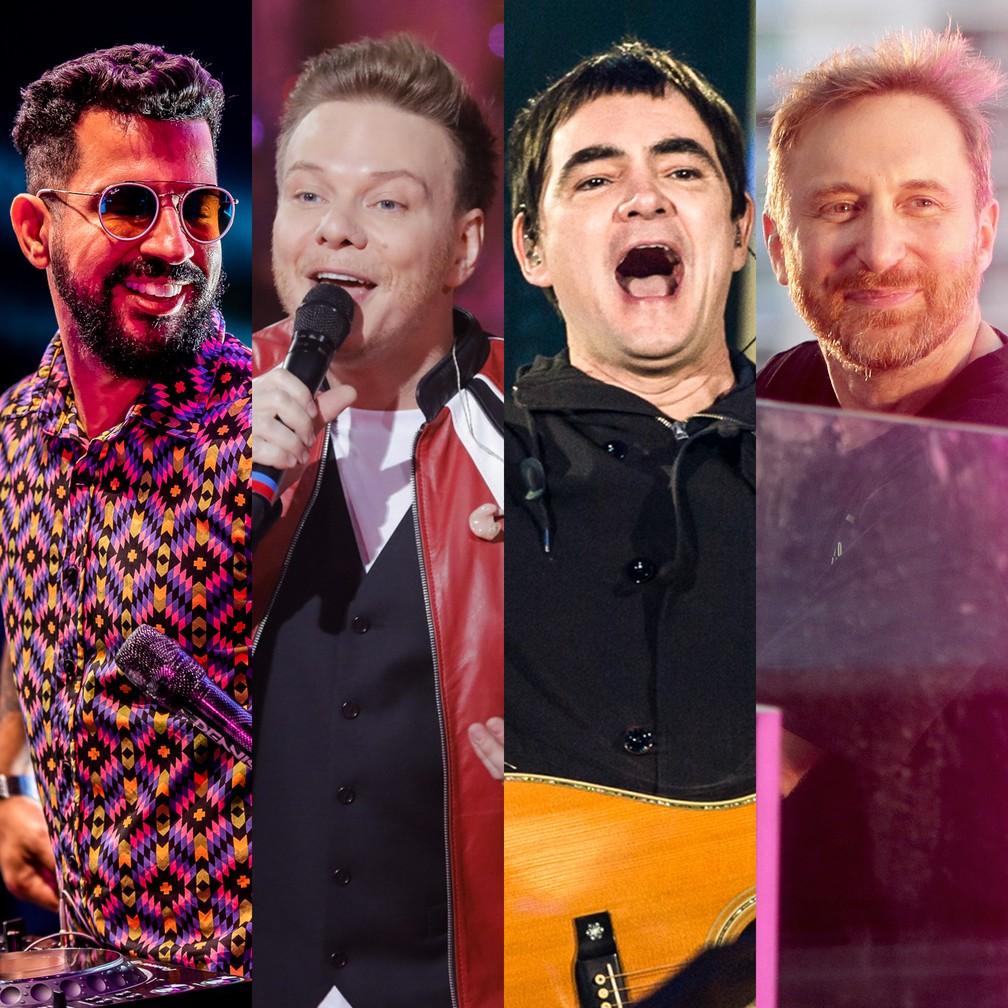 Dennis DJ, Michel Teló, Skank e David Guetta estão entre artistas com lives deste sábado (30) — Foto: Divulgação
