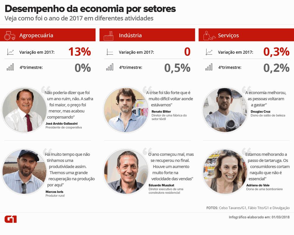 Desempenho da economia por setores em 2017. (Foto: Juliane Souza/G1)