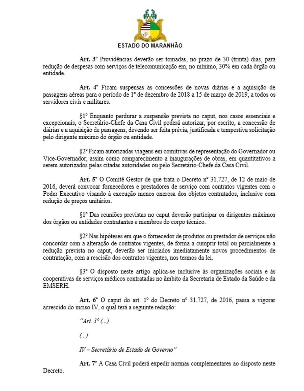 Página 2 do decreto do governo do Maranhão sobre corte de gastos — Foto: Reprodução
