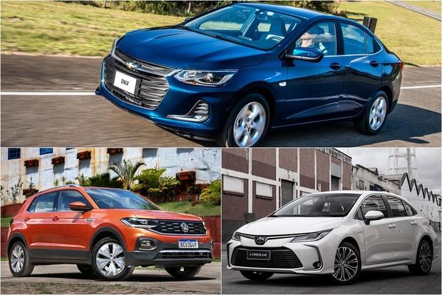 Onix Plus, novo Corolla e T-Cross estão entre os mais vendidos de outubro (Foto: Montagem/Autoesporte)