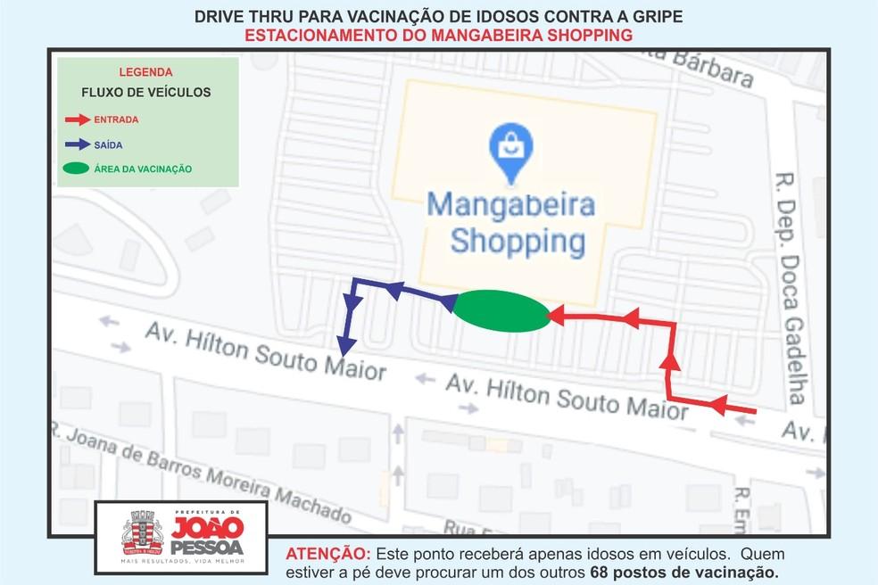 Vacina drive thru no Mangabeira Shopping, em João Pessoa — Foto: Divulgação/Semob-JP