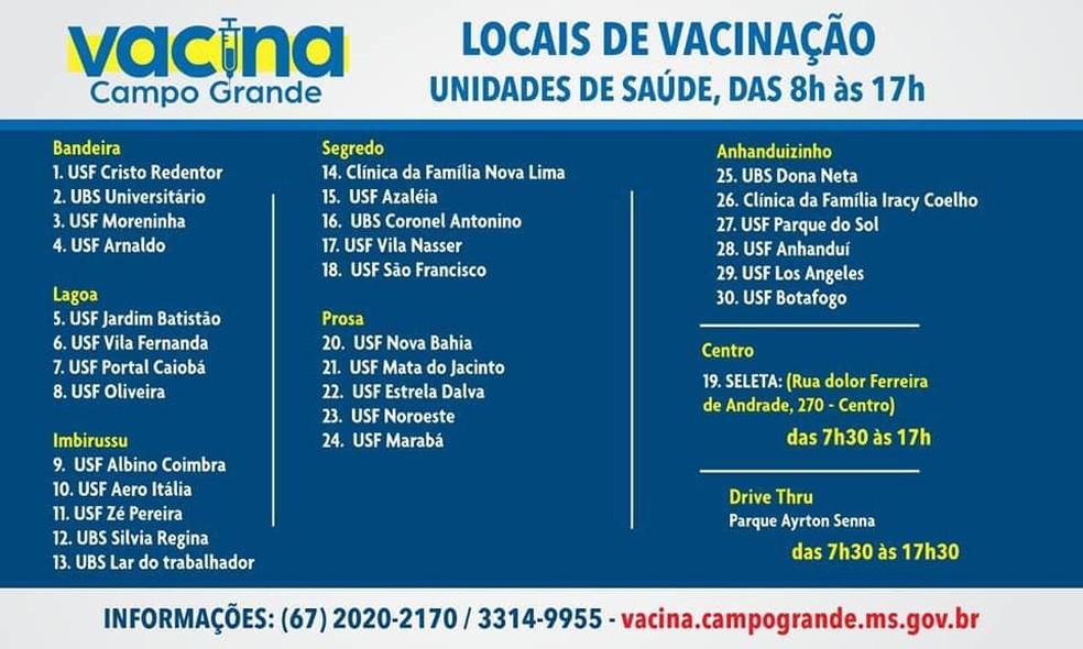 Locais e horários de vacinação para a semana entre 22 e 27 de março em Campo Grande (MS) — Foto: Sesau/Divulgação