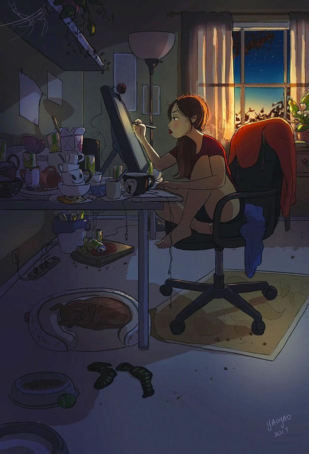 Ilustração de  Yaoyao Ma Van As sobre as delícias de morar sozinh (Foto: Yaoyao Ma Van As / Reprodução)