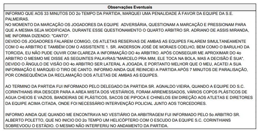 Súmula do jogo entre Palmeiras x Corinthians descreve lance polêmico (Foto: reprodução)