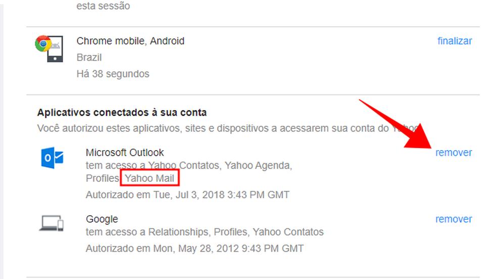 Remova um aplicativo com acesso ao seu Yahoo Mail (Foto: Reprodução/Paulo Alves)