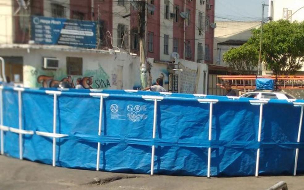 Piscina enorme foi motanda na Cidade Alta no Dia das Crianças (Foto: Reprodução)