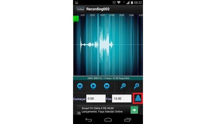 Destaque para ícone de Download do app Gravador de Áudio (Foto: Reprodução/Raquel Freire)