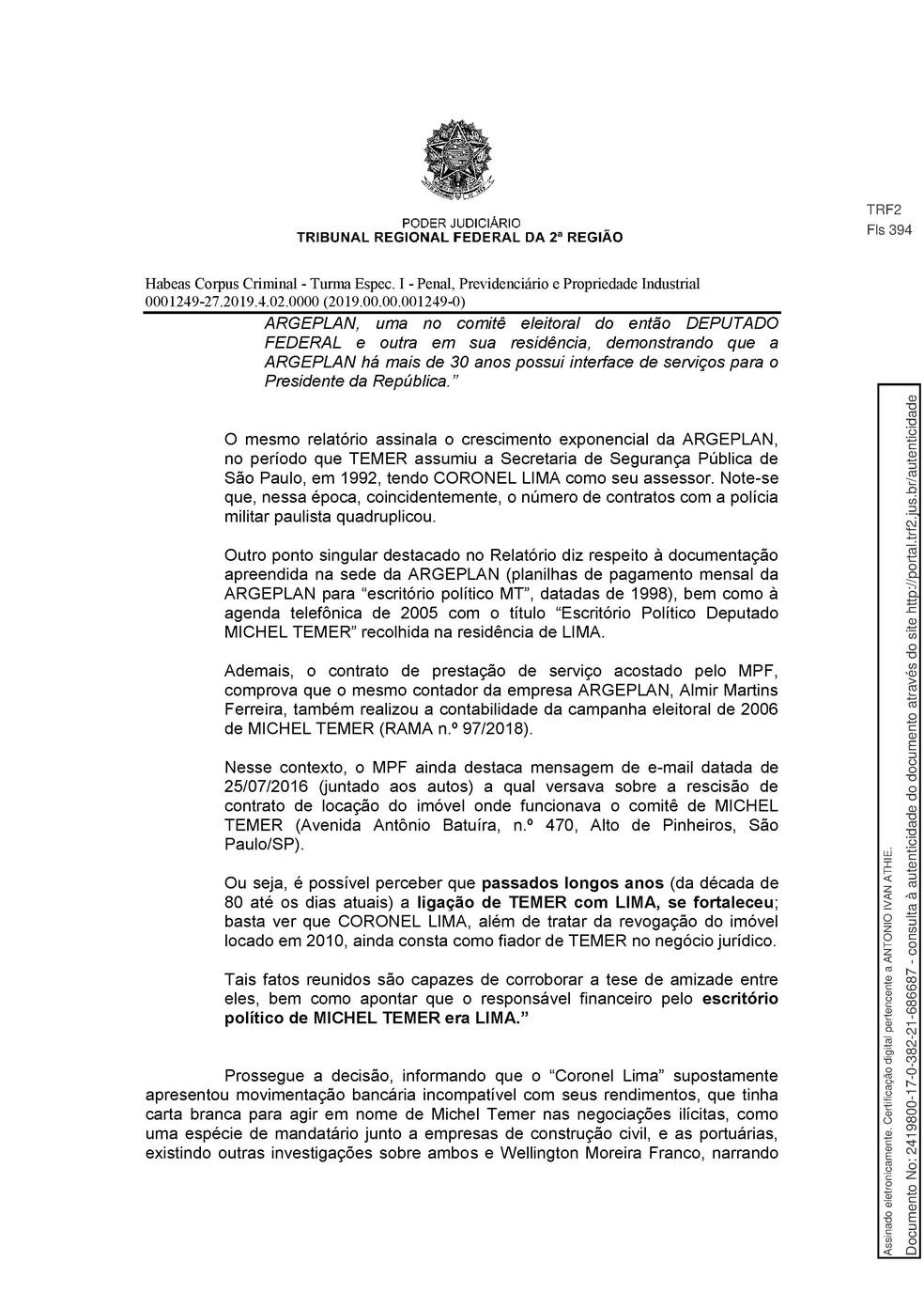Decisão TRF-2 pg. 13 — Foto: Reprodução