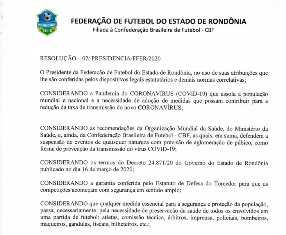 FFER suspende inicialmente por 15 dias Campeonato Rondoniense.  — Foto: Divulgação/FFER