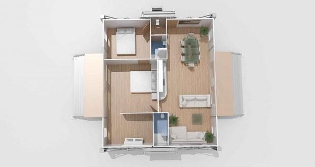 A casa Ten Fold também pode uma ser uma loja, um restaurante, um estúdio de um festival de música e até mesmo uma clínica médica (Foto: Reprodução/Ten Fold Engineering)