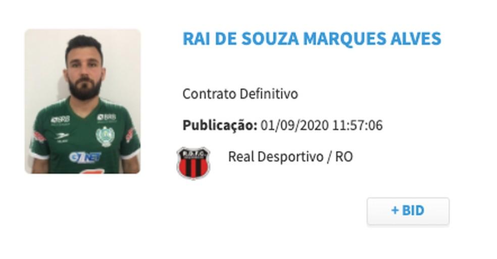 Inscrito no BID, Raí já pode atuar no Brasileirão (Foto: CBF Reprodução)