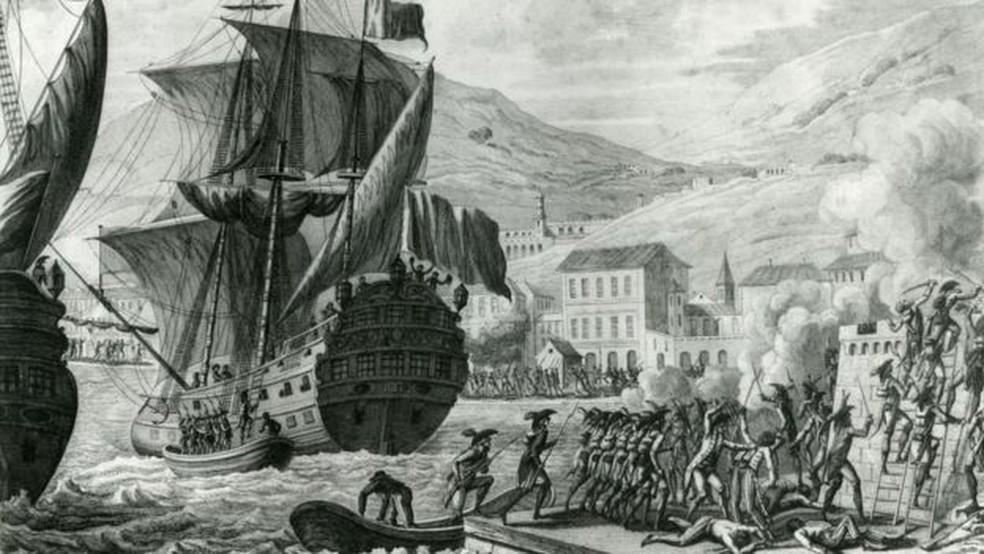 Com tropas experientes e bem armadas diante de milícias locais mal equipadas, Leclerc conseguiu ganhar terreno e, em maio de 1802, ele fez um armistício com Toussaint — Foto: Getty Images/BBC