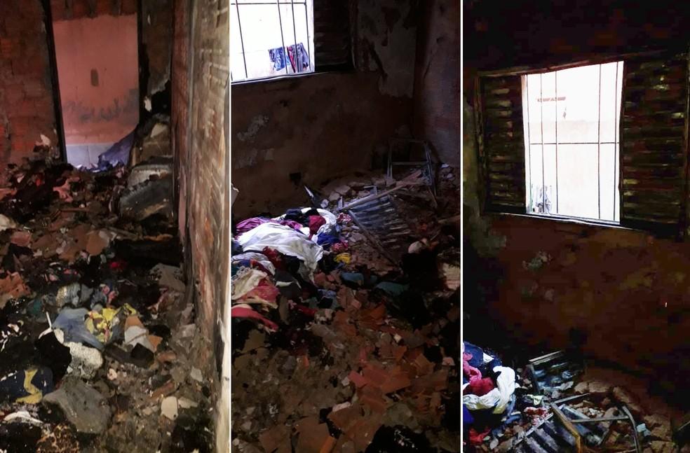 Menino de 3 anos é retirado inconsciente de casa incendiada em Assis — Foto: Corpo de Bombeiros/Divulgação