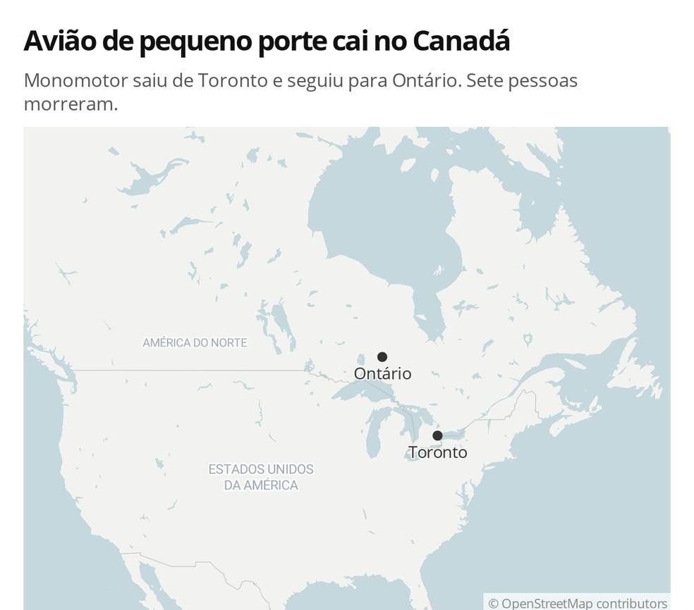 Avião cai e deixa mortos no Canadá — Foto: G 1