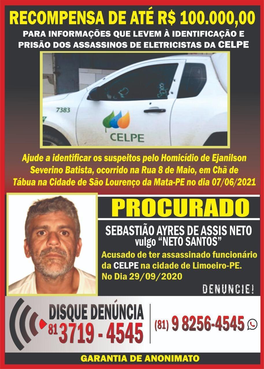 Disque-denúncia e Celpe oferecem recompensa de até R$ 100 mil por informações sobre assassinos de eletricistas