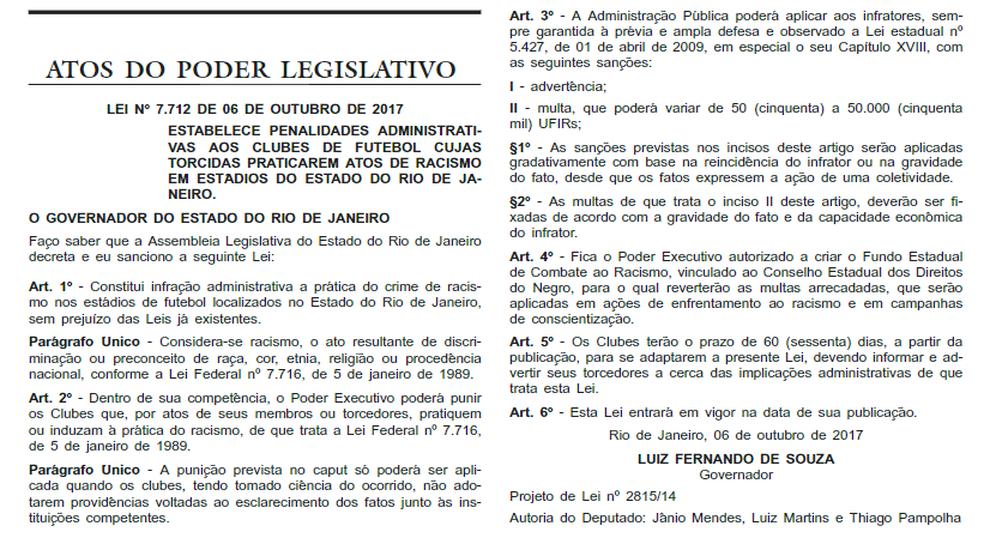 Lei prevê punições a clubes do RJ por atos racistas dos torcedores (Foto: Reprodução)