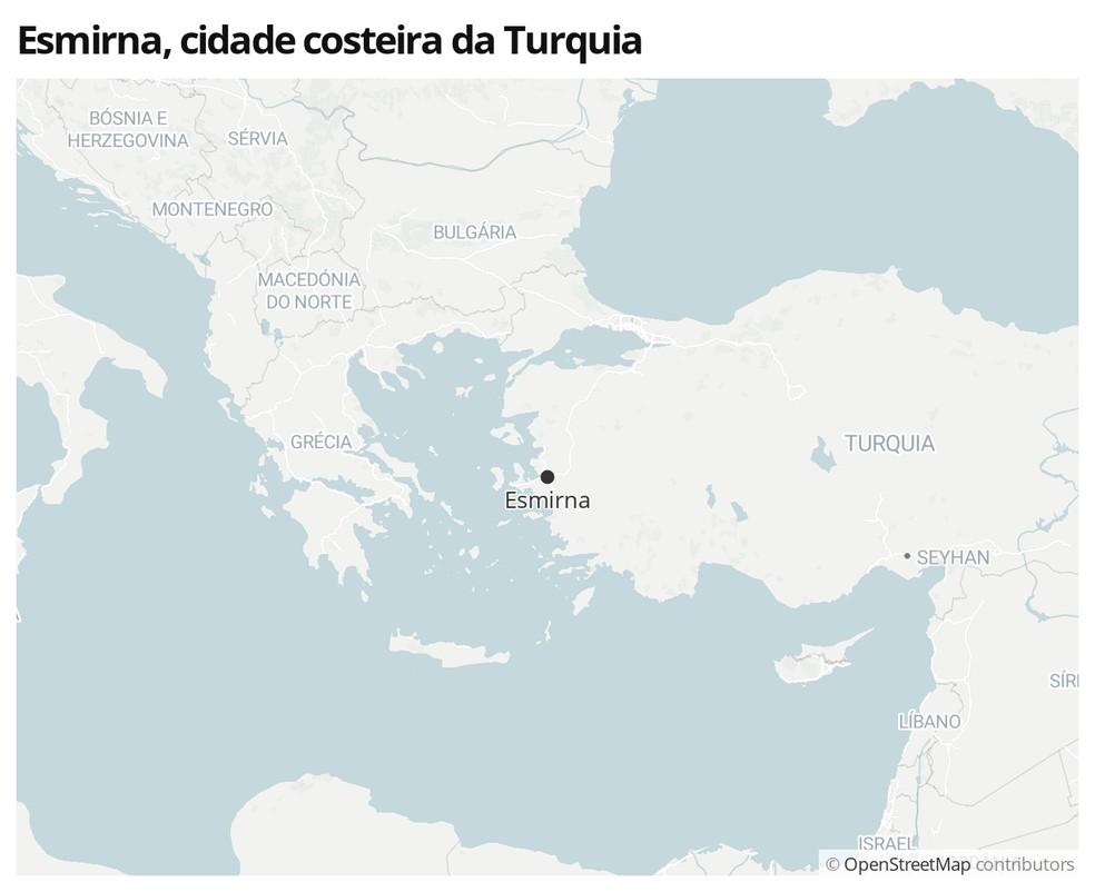 Mapa mostra a localização de Esmirna, na Turquia — Foto:  G1